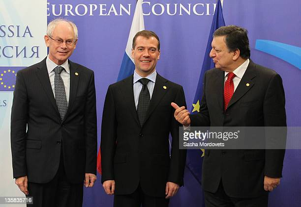Russian President Dmitry Medvedev European Council President Herman Van Rompuy and European Commission President Jose Manuel Barroso pose for a photo...