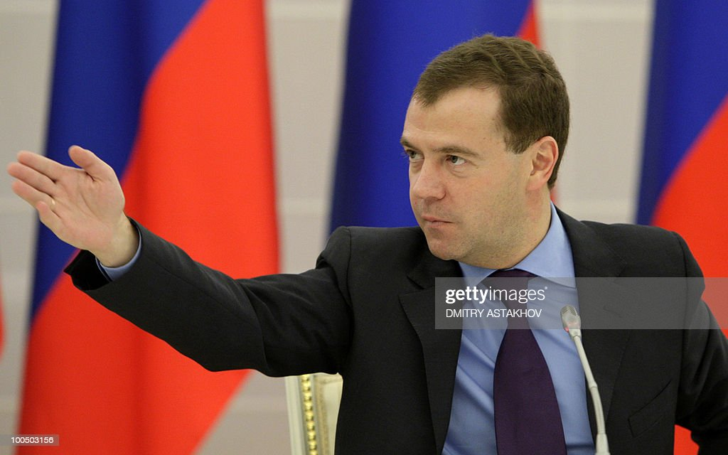 Russian President Dmitry Medvedev gestures during a meeting with US venture fund chiefs outside Moscow in Gorki on May 25, 2010. Venture fund capital in Russia is insufficient, Medvedev commented, Russian news agencies reported.