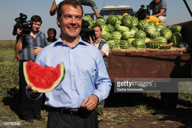 Russian President Dmitry Medvedev holds a watermelon during a walking tour on September 2 2010 in Saratov about 700 kilometers southeast of Moscow...