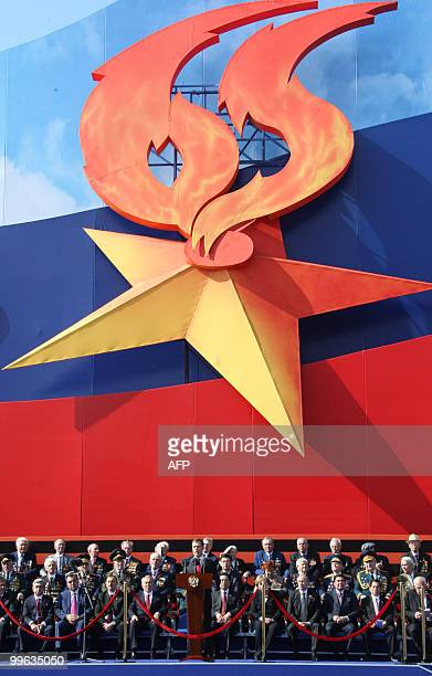 Russian President Dmitry Medvedev makes a speech on Red Square during the Victory Day parade in Moscow May 9 2010 Troops from four NATO states...