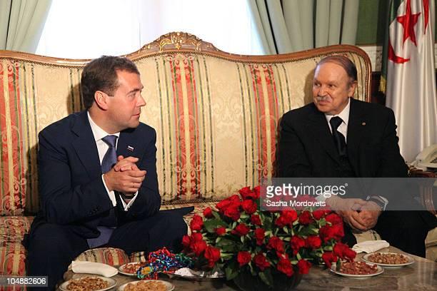 Russian President Dmitry Medvedev meets Algerian President Abdelaziz Bouteflika October 6 2010 in Algiers Algeria Medvedev is on a oneday state visit...