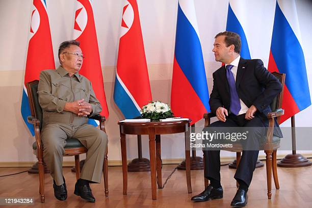 Russian President Dmitry Medvedev meets North Korean leader Kim Jong Il ahead of talks on August 24 2011 in the Eastern city of Ulan Ude Russia The...