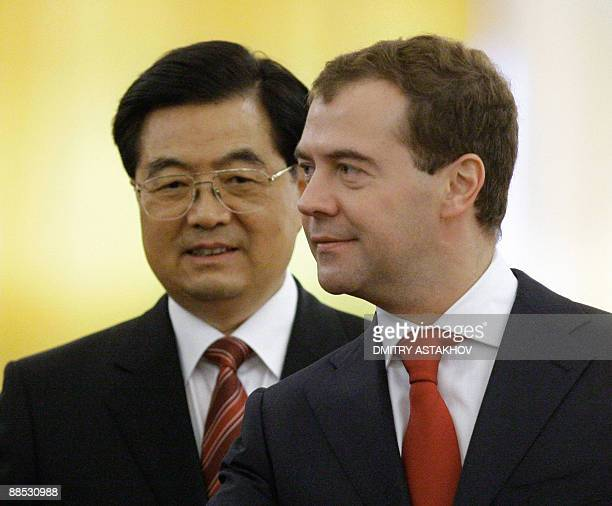 Russian President Dmitry Medvedev meets with Chinese President Hu Jintao at the Kremlin in Moscow on June 17, 2009. The leaders of China and Russia...