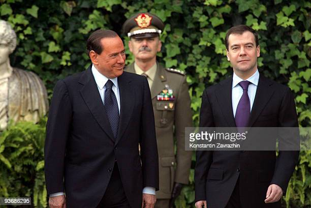 Russian President Dmitry Medvedev meets with Italian Prime Minister Silvio Berlusconi at Villa Madama on December 3, 2009 in Rome, Italy. During his...