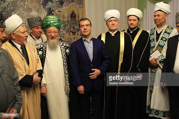 Russian President Dmitry Medvedev meets with Muslim leaders on November 19 2011 in Ufa Republic of Bashkiria Russia Medvedev is visting Ufa as part...