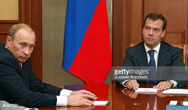 Russian President Dmitry Medvedev meets with Prime Minister Vladimir Putin and the Security Council in Sochi on August 26 2008 Medvedev announced on...