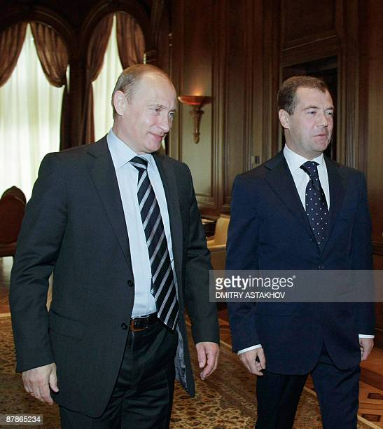 Russian President Dmitry Medvedev meets with Prime Minster Vladimir Putin outside Moscow in Gorki on May 20 2009 European and Russian leaders meet in...