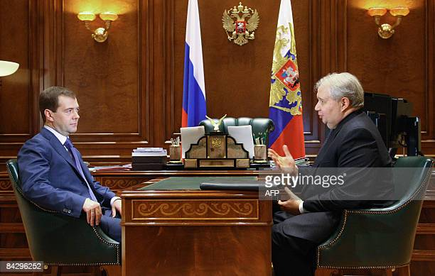 Russian President Dmitry Medvedev meets with Russia's ambassador to the USA Sergei Kislyak outside Moscow in Gorki on January 15 2009 Medvedev has...