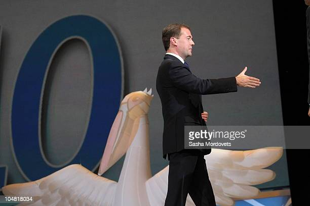 Russian President Dmitry Medvedev meets with teachers on National Teachers' Day at the Kremlin October 5 2010 in Moscow Russia Medvedev fired Yuri...