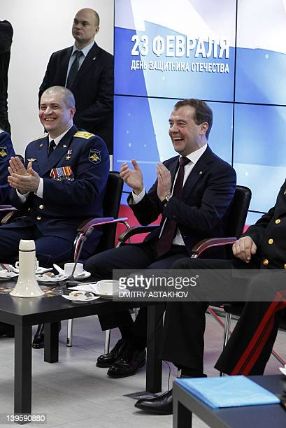 Russian President Dmitry Medvedev meets with the servicemen who took part in RussianGeorgian war over the breakaway region of South Ossetia in 2008...