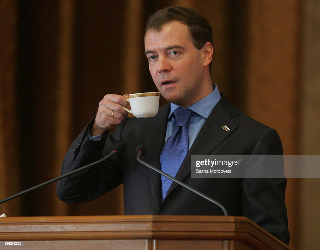 Russian President Dmitry Medvedev pauses for a sip of tea whilst speaking to students at the Taras Shevchenko National University in Kiev, Ukraine, 18 May 2010. Medvedev is on a two-day visit to Ukraine to bolster cooperation between the two countries. President Yanukovych was elected in February and he has been actively seeking to work with Russia on energy projects during his time in office.