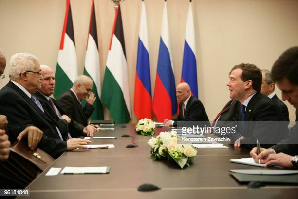 Russian President Dmitry Medvedev receives Palestinian President Mahmoud Abbas at the Grand Hotel Krasnya Polyana January 2010 in Sochi Russia Abbas...