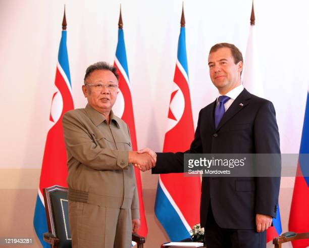 Russian President Dmitry Medvedev shakes hands with North Korean leader Kim Jong Il ahead of talks on August 24 2011 in the Eastern city of Ulan Ude...
