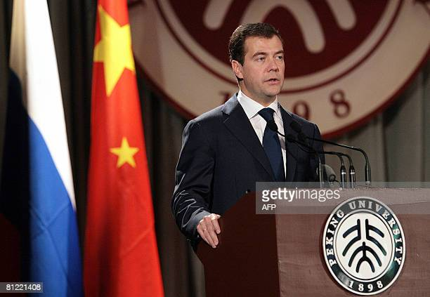 Russian President Dmitry Medvedev speaks at a meeting with local university students during his visit to Beijing on May 24, 2008. Medvedev is in...