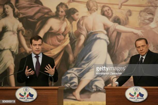 Russian President Dmitry Medvedev speaks during a joint press conference with Italian Prime Minister Silvio Berlusconi at Villa Madama on December 3...