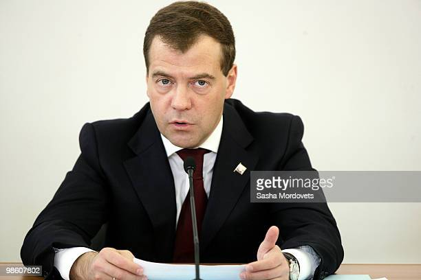 Russian President Dmitry Medvedev speaks during a meeting of the state councils on Science and Culture in Istra 30 km West of Moscow on April 22 2010...