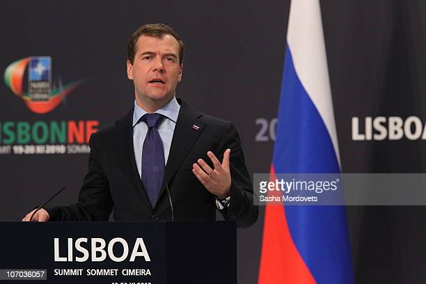 Russian President Dmitry Medvedev speaks during a press conference during day two of the NATO Summit at Feira Internacional de Lisboa on November 20...