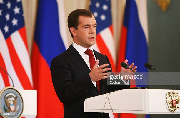 Russian President Dmitry Medvedev speaks during a press conference with US President Barack Obama after the signing ceremony of the Joint...