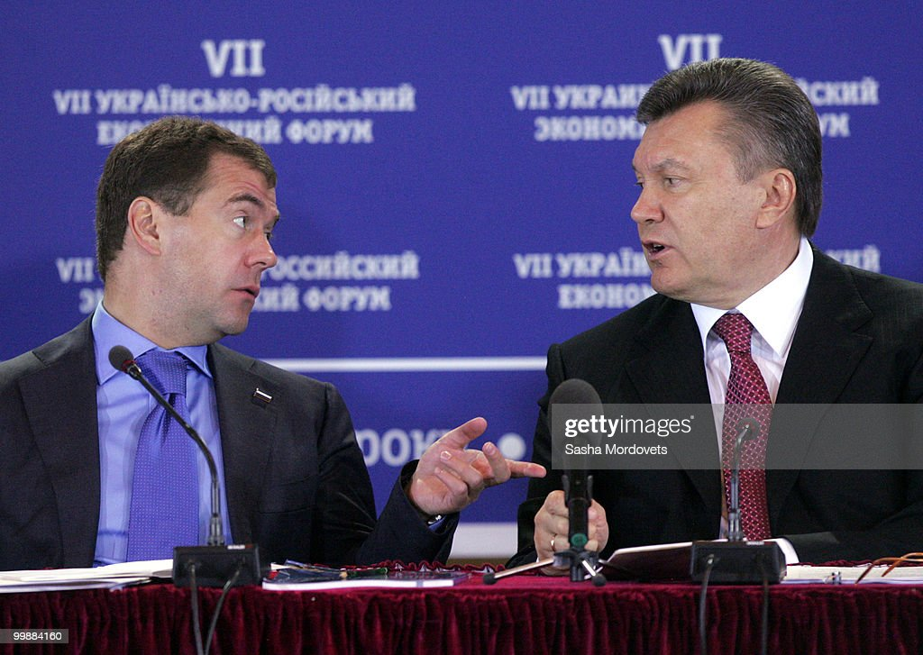 Russian President Dmitry Medvedev (L) speaks with his Ukrainian counterpart Viktor Yanukovych (R) during the seventh Ukraine - Russia Economic Forum in Kiev, Ukraine, 18 May 2010. Medvedev is on a two-day visit to Ukraine to bolster cooperation between the two countries. President Yanukovych was elected in February and he has been actively seeking to work with Russia on energy projects during his time in office.