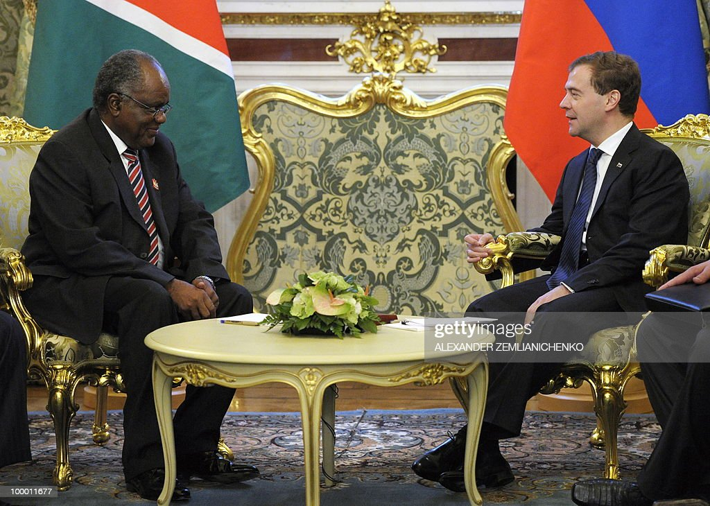 Russian President Dmitry Medvedev (R) speaks with Namibian President Hifikepunye Pohamba at the Kremlin in Moscow on May 20, 2010. Russia and Namibia signed an agreement on exploration and production of uranium which could lead to Moscow investing one billion dollars in the resource-rich southern African country, officials said.