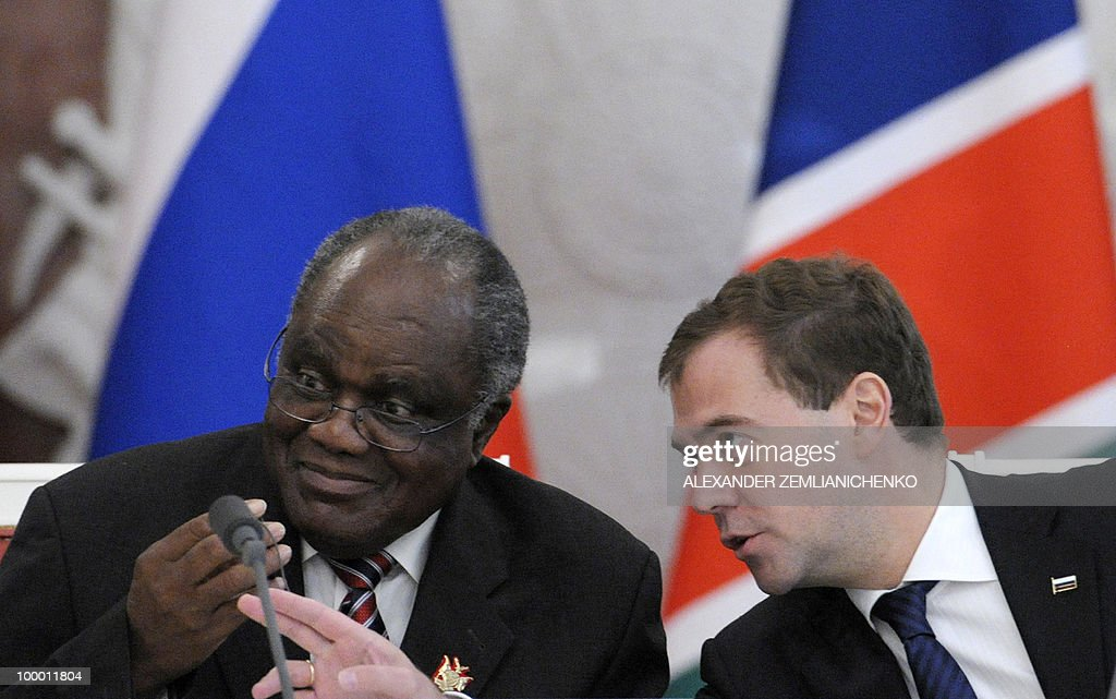 Russian President Dmitry Medvedev (R) speaks with Namibian President Hifikepunye Pohamba at the Kremlin in Moscow on May 20, 2010 during a press conference after talks. Russia and Namibia signed an agreement on exploration and production of uranium which could lead to Moscow investing one billion dollars in the resource-rich southern African country, officials said.