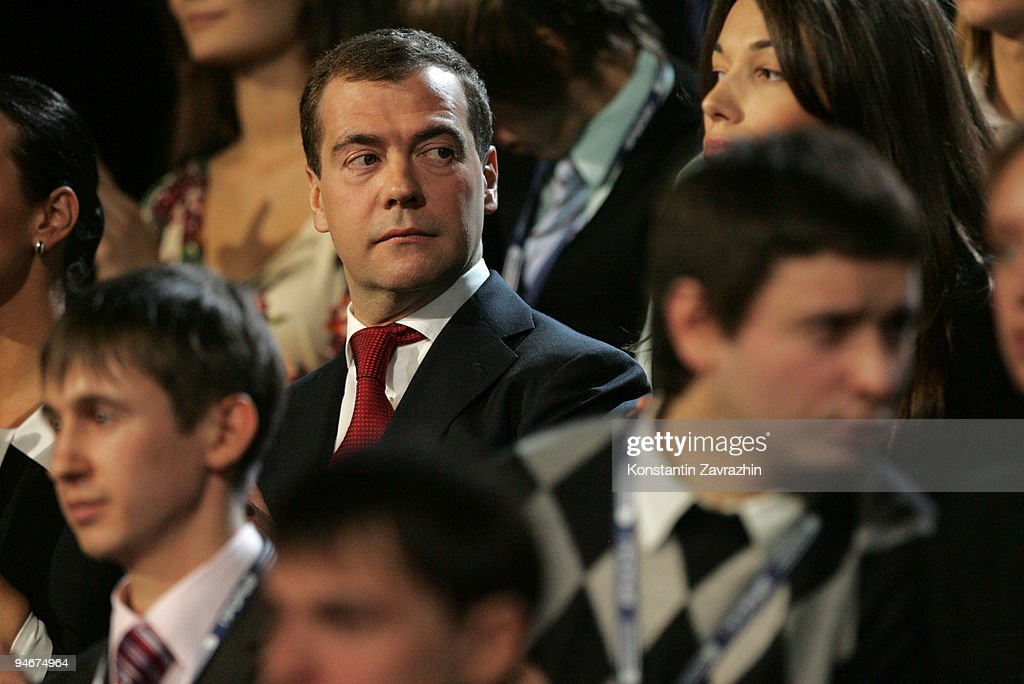 Russian President Dmitry Medvedev stands with students during a meeting at Moscow's Olympiisky Stadium on December. 17, 2009 in Moscow, Russia. President Medvedev visited the first awards ceremony for young Russians during a youth forum in Moscow.