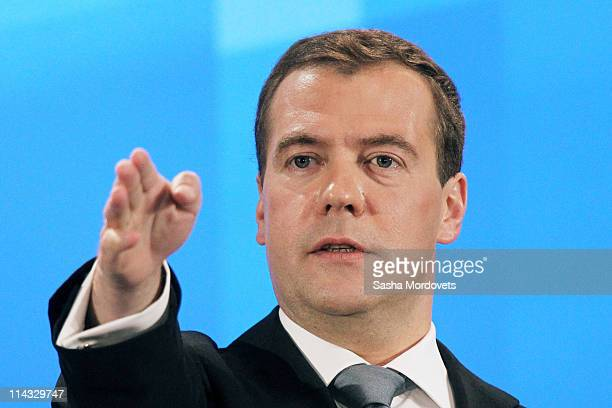 Russian President Dmitry Medvedev takes questions from journalists during a press conference on May 18 2011 in Skolkovo Russia In his biggest press...