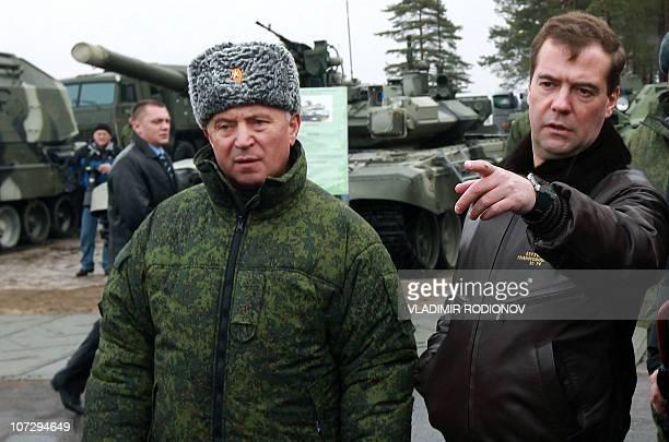 Russian President Dmitry Medvedev visits the Gorokhovetsky military training ground in Russia's Nizhny Novgorod region on November 25, 2010. AFP...