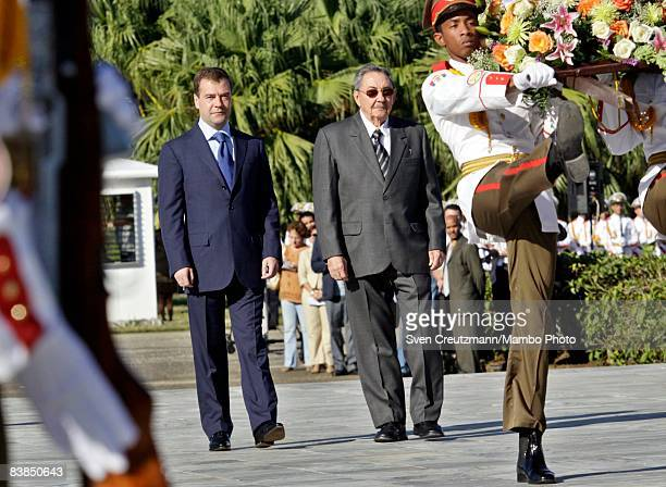 Russian President Medvedev and Cuba's President Raul Castro brother of ailing revolution leader Fidel Castro stand together during a wreath laying...