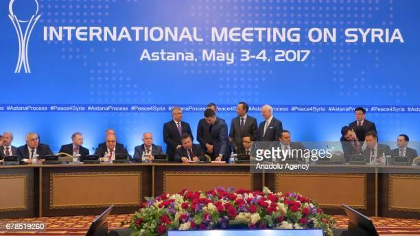 Russian President Putin's special envoy to Syria Alexander Lavrentiev Kazakh Foreign Minister Kairat Abdrakhmanov UN Special Envoy for Syria Staffan...