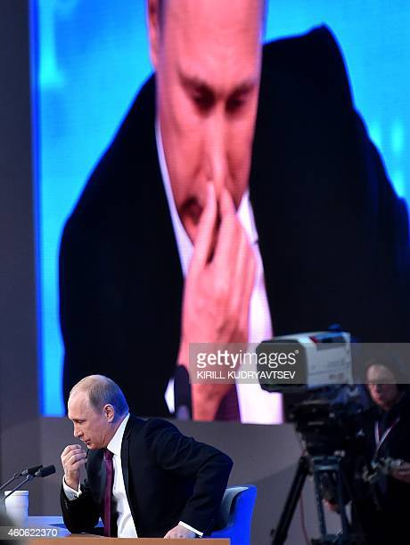 Russian President Vladimir Putin aattends his annual press conference in Moscow on December 18 2014 Putin crushed Chechnya's rebellion pushed back...