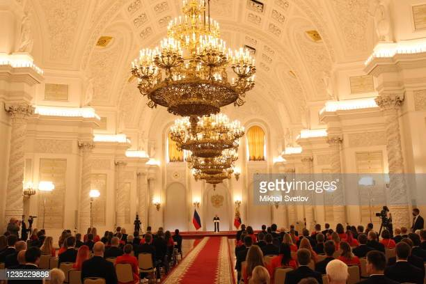 Russian President Vladimir Putin addresses Tokyo 2020 Paralympic medalists during the meeting at the Grand Kremlin Palace, on September 13, 2021 in...