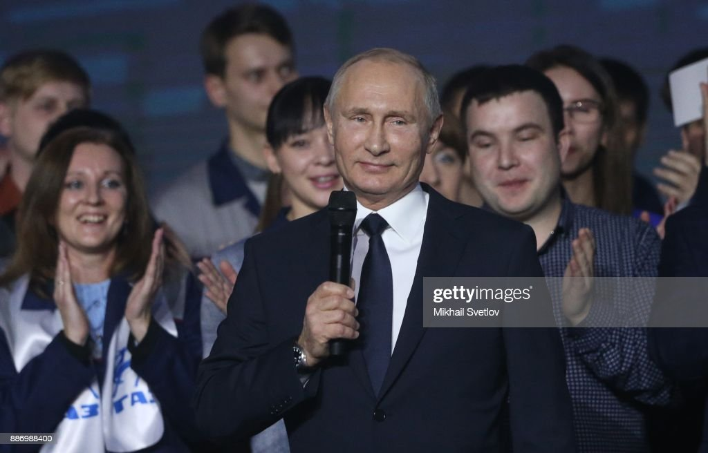 Russian President Vladimir Putin addresses workers of GAZ Automobile Planton December 6, 2017 in Nizhny Nogorod, Russia. Putin confirmed that he will run for re-election in the Presidential Elections 2018 during the meeting with workers of the GAZ plant.