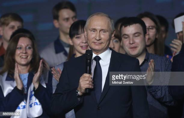 Russian President Vladimir Putin addresses workers of GAZ Automobile Planton December 6 2017 in Nizhny Nogorod Russia Putin confirmed that he will...