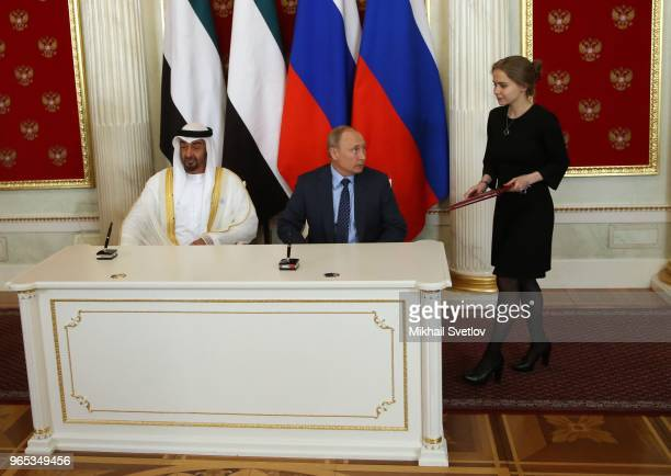 Russian President Vladimir Putin and Abu Dhabi's Crown Prince and Deputy Supreme Commander of UAE's Armed Forces Sheikh Mohammed bin Zayed bin Sultan...