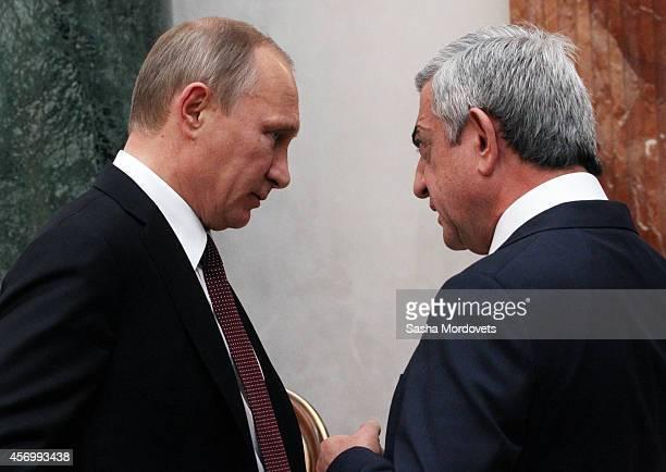 Russian President Vladimir Putin and Armenian President Serzh Sargsyan attend the Summit of Eurasian Economic Union on October 10 2014 in Minsk...