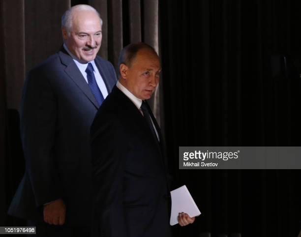 Russian President Vladimir Putin and Belarussian President Alexander Lukashenko attend the RussianBelarussian Regional Forum in Mogilev Belarus...