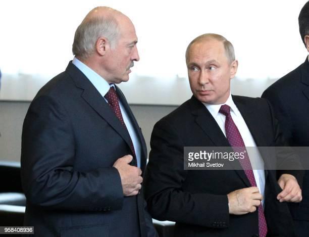 Russian President Vladimir Putin and Belarussian President Alexander Lukashenko enter the hall during the Eurasian Economic Union Summit May 14 2018...