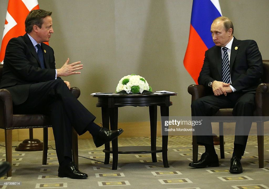 Russian President Vladimir Putin (R) and British Prime Minister David Cameron (L) attend a bilateral meeting during the G20 Antalya Summit on November 16, 2015 in Antalya, Turkey. World leaders are attending the two-day G20 summit in Turkey in the wake of the Paris terror attacks. The Syrian conflict, the migration crisis and the threat of Islamic State are expected to top the agenda.