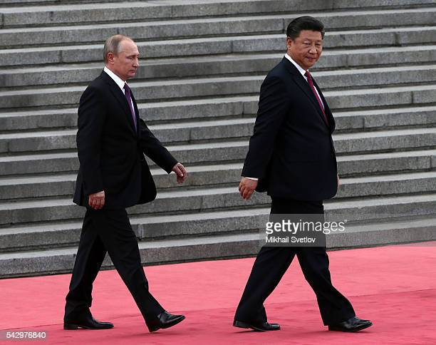 Russian President Vladimir Putin and Chinese President Xi Jinping attends the welcoming ceremony in June 25, 2016 in Beijing, China. Vladimir Putin...