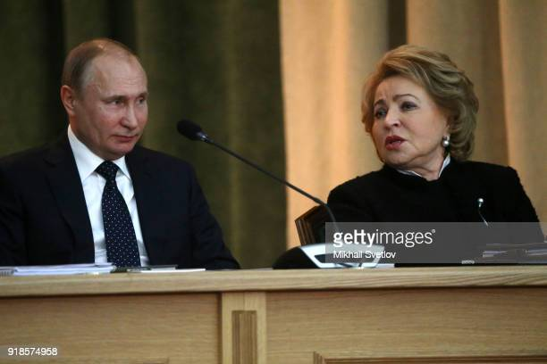 Russian President Vladimir Putin and Council of the Federation Speaker Valentina Matviyenko attend the meeting of the Extended Board of the...
