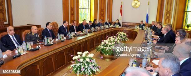Russian President Vladimir Putin and Egyptian President Abdel Fattah elSisi hold an interdelegation meeting on December 11 2017 at Presidential...