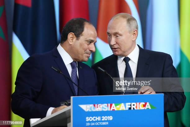Russian President Vladimir Putin and Egyptian President Abdel Fattal el-Sisi seen during the Russia-Africa Summit on October 24, 2019 in Sochi,...