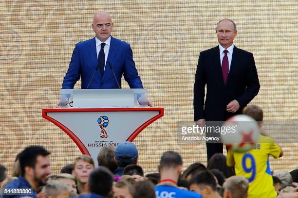 Russian President Vladimir Putin and FIFA President Gianni Infantino at a ceremony to kick off the 2018 FIFA World Cup Trophy Tour at Luzhniki...