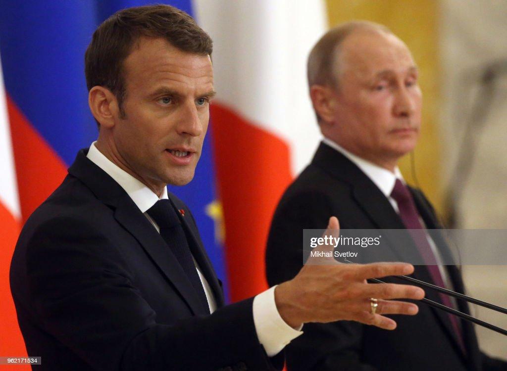 Vladimir Putin receives French President Emmanuel Macron in Saint Petersburg