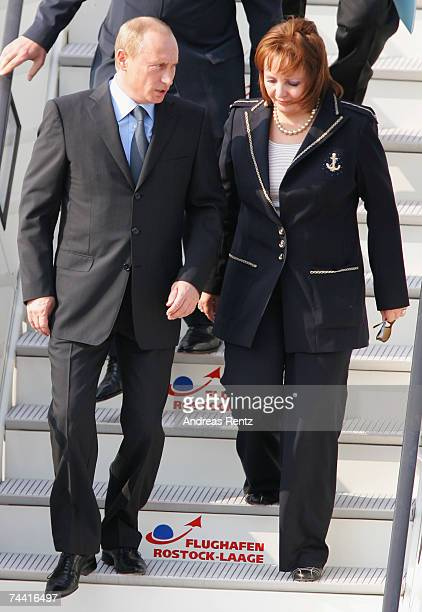 Russian President Vladimir Putin and his wife Ludmila Alexandrowna Putina arrive for the G8 summit June 6 2007 in RostockLaage Germany Putin and...