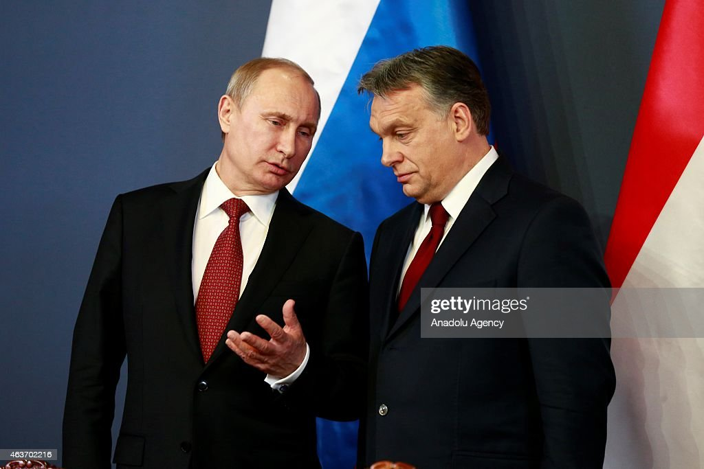 Russian President Vladimir Putin (L) and Hungarian Prime Minister Viktor Orban (R) hold a joint press conference after their meeting at Parliament on February 17, 2015 in Budapest, Hungary.