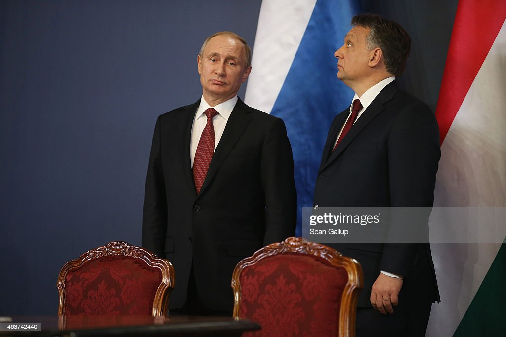 Russian President Vladimir Putin (L) and Hungarian Prime Minister Viktor Orban attend a signing ceremony of several agreements between the two countries at Parliament on February 17, 2015 in Budapest, Hungary. Putin is in Budapest on a one-day visit, his first to an EU-member country since he attended ceremonies marking the 70th anniversary of the D-Day invasions in France in June, 2014.