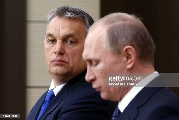 Russian President Vladimir Putin and Hungarian Prime Minister Viktor Orban attend a joint press conference following their meeting at the...
