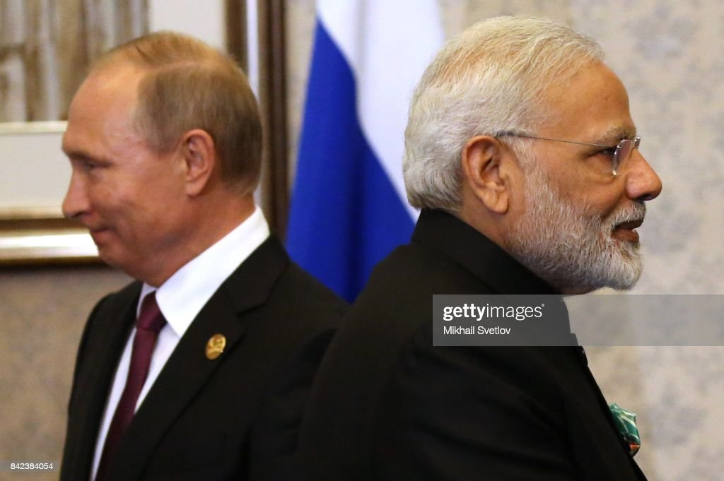Russian President Vladimir Putin (L) and Indian Prime Minister Narendra Modi (R) seen during their meeting in Xiamen, China, September,4,2017. Leaders of Russia, China, India, Brasil and South Africa are attending the BRICS 2017 Summit, held from September 3 to 5.
